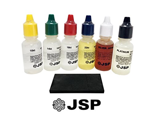 Gold Testing Kit - JSP Gold, Silver, and Platinum Testing Acid Solutions Kit With Test Stone