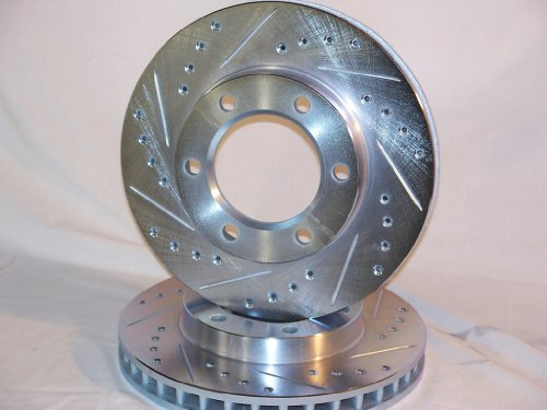 1988 thru 2000 Chevrolet Silverado K1500 4x4 Front Brake Disc Rotors +Hawk LTS Pads