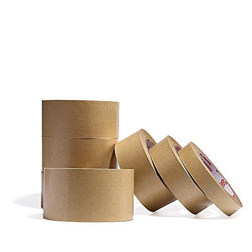 Paper Carton Sealing Tape (Zhi Jin 2Rolls Kraft Paper Tape Flatback Adhesive Thick Packaging Masking Sealing Tapes for Carton Box 32.8yd 24mm)