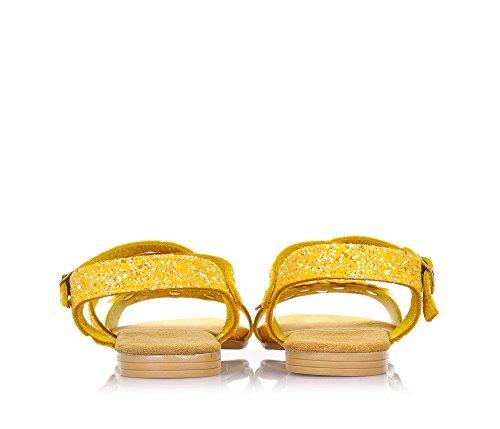 MONNALISA - Gelbe Sandale aus Leder und Glitzern, made in Italy, romantisch und spaßig, mit Schnallenverschluss, Madchen