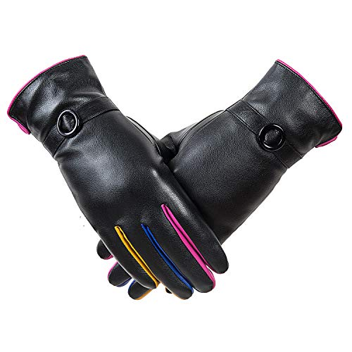 QNLYCZY Winter womens classic leather touch screen texting plus velvet warm driving leather gloves (super soft lining)