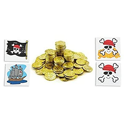 Plastic Gold Coins 288ct With 24 Pirate Themed tatoos: Toys & Games