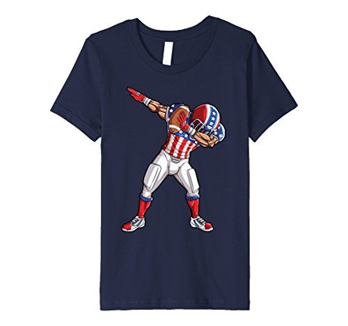Price comparison product image Kids Dabbing Football T shirt American Flag 4th of July USA US 12 Navy
