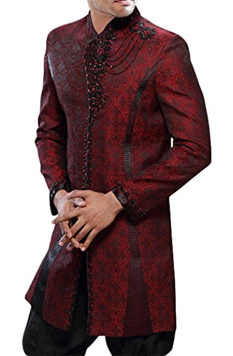 INMONARCH Mens Ultimate Indo Western IN291 40XL Dark-red by INMONARCH