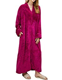 Bigbarry Womens Loungewear Plus Size Zip Flannel Bathrobe Fall Winter Robe