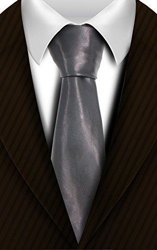 Leather Skinny Tie - Men's Solid Satin Tie Pure Color Necktie Mens Clasic Ties by HAZELNUTS FOR Z