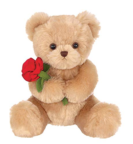 Bearington Remington Valentines Plush Stuffed Animal Teddy Bear with Rose, 9.5 Inches