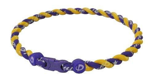 Phiten Tornado Titanium Necklace, Purple/Gold, 18