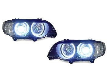 Amazon.com: LED Angel Eye Halo Faros de xenón proyector para ...