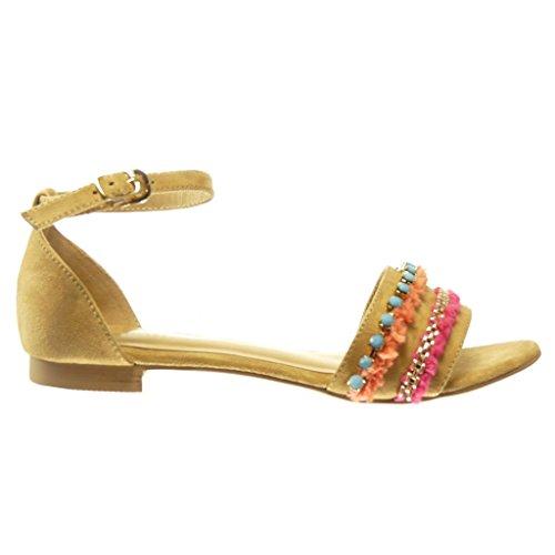 Angkorly - Zapatillas de Moda Sandalias mujer joyas pompom Talón Tacón ancho 1.5 CM - Camel