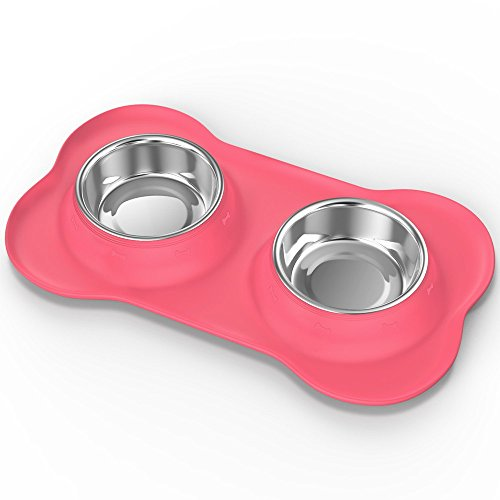 LVPET Pet Dog Cat Bowls, Premium Stainless Steel Pet Feeder with Food Grade Bone Shaped Rubber Base, Bowls for Pet Dog Cat Food or Water (Pink) by LVPET