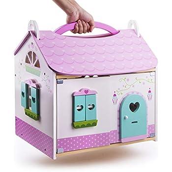 Amazon com: Melissa & Doug Fold & Go Mini Dollhouse (Portable Wooden