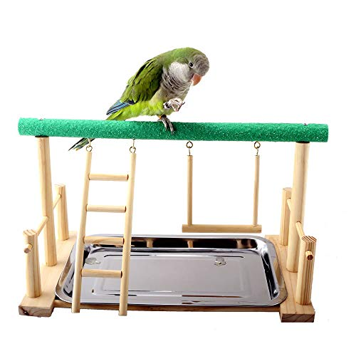 Play Perch - Mrli Pet Parrot Playstand Bird Play Stand Cockatiel Playground Wood Perch Gym Playpen with Ladder Swing Toys Exercise Play (Include a Tray)
