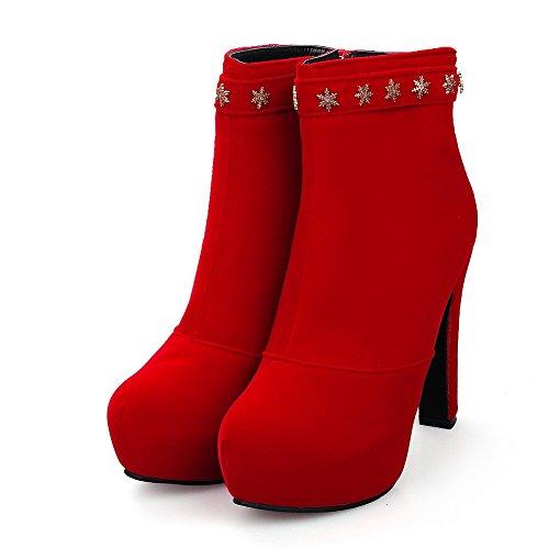 VogueZone009 Donna Bassa Altezza Cerniera Tacco Alto Punta Tonda Stivali con Metallo Rosso