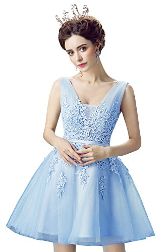 (Women Lace Evening Cocktail Dresses Short Gala Ball Party Gown,Blue,Size 6)