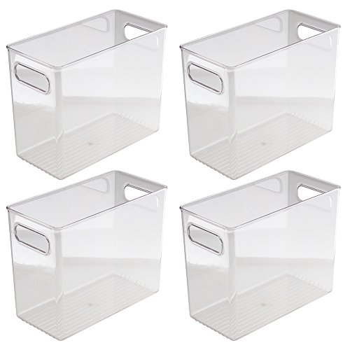 InterDesign Kitchen Pantry Cabinet Storage and Organization Bin, 10-Inch by 5-Inch by 8-Inch, 4 Pack, Clear