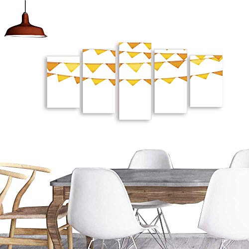 UHOO Paintings Combination DecorativeAutumn Holiday Background with Orange and Yellow Bunting Flags.Bedroom,Hotel and so ()