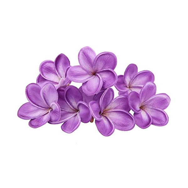 Bunch of 10 PU Real Touch Lifelike Artificial Plumeria Frangipani Flower Without The twig Bouquets Wedding Flowers Home Party Decoration (Purple)