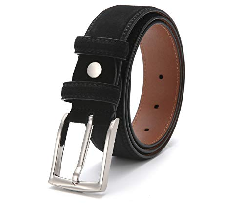 Ground Mind Extra Thickness Suede Leather Belt for Men,40,Black
