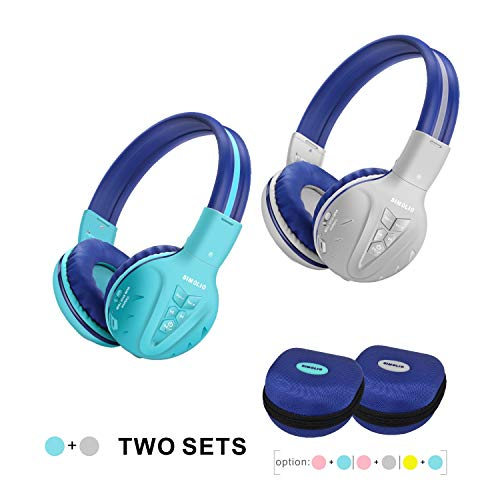 2 Pack of SIMOLIO Kids Bluetooth Headphones with Hearing Protection,Kids Wireless Headphones with EVA case for School…
