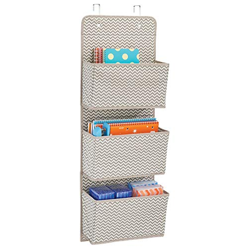 mDesign Soft Fabric Over the Door Hanging Storage Organizer with 3 Large Cascading Pockets, Holder for Office Supplies, Planners, File Folders, Notebooks - Zig Zag Chevron Pattern, Taupe/Natural