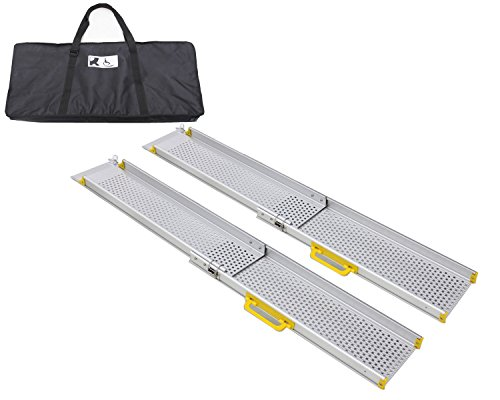Ruedamann 8' Aluminum Adjustable Portable Telescoping Track Ramps Lightweight Wheelchair Ramp with Carrying Bag, Sold in Pair, 7.2