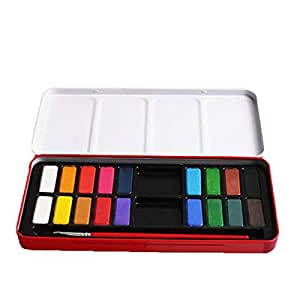 1PC Watercolor Paint Set Solid Mix Palette Metal Box for Artist Field Sketch Kid - 18 Colors