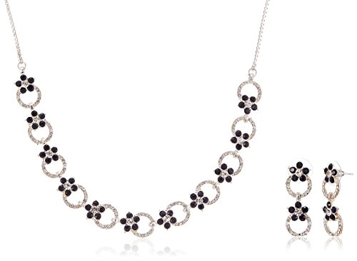Fabby Fashion Collar Necklace Set for Women (White and Montana)(77708)