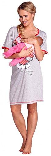 Happy Mama. Para mujer camisón estampado premamá de embarazo y lactancia. 367p (Rojo, EU 36/38, S)