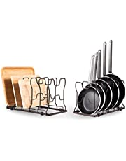 Cookware Rack Pan Organizer, Pan and Pot Lid Holder Organizer, Pack of 2 Adjustable Cookware Bakeware Cutting Board Rack with Rubber Feet and Recess Design for Kitchen Cabinet Pantry,Bronze