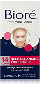 Face & Nose Deep Cleansing Pore Strips by Biore for Unisex - 14 Pc 7 Face Pore Strips, 7 Nose Pore Strips
