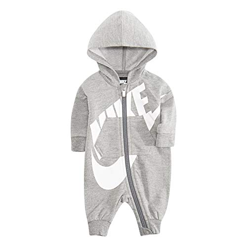 NIKE Children's Apparel Baby Hooded Coverall, Dark Grey Heather, 0/3M