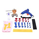 HOTPDR Paintless Dent Repair Tools PDR Tools Dent Lifter Slide Hammer Rubber Hammer Glue Puller Gun Sticks Tabs Tap Down Head of Auto CAR Body Restore Tool (44 Pcs)