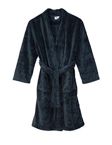 TowelSelections Big Girls' Robe, Kids Plush Kimono Fleece Bathrobe Size 10 Charcoal