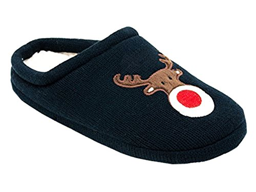 Slippers Christmas Ladies Lined Fleece Rudolph Navy S1I1AqwxZ