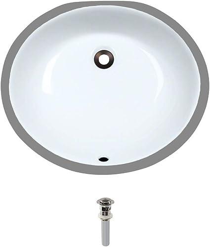 UPM-White Undermount Porcelain Bathroom Sink Ensemble, Brushed Nickel Pop-Up Drain