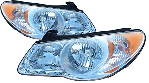For 2007 2008 2009 Hyundai Elantra Headlight Headlamp Driver Left and Passenger Right Side Pair Set Replacement HY2502138 HY2503138 ()