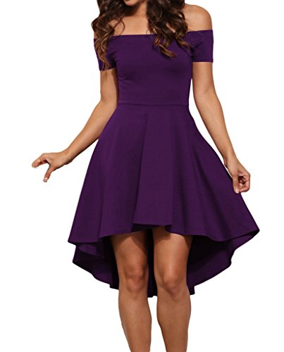 Tiksawon Women Sexy Plus Size Slash Neck Evening Party Skater Dress XL Purple (Purple Dress Clubwear)
