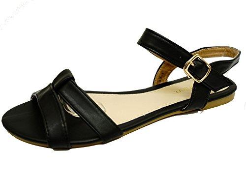Tamanhos Mulheres Verão De De Tiras Flip Flop Sapatos De Gladiador Praia De Negras 8 3 Planas Sandália 0qwd0Kx5rY