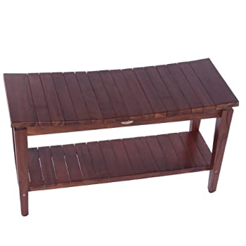 Image of Bath & Shower Aids Sojourn 35' Contemporary Teak Eastern Style Shower Bench with Shelf