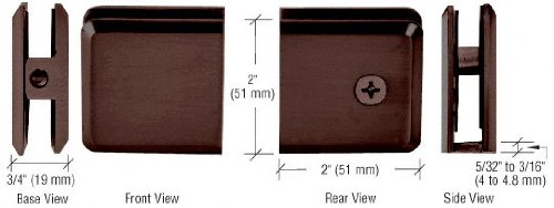CRL Oil Rubbed Bronze Beveled Style Hole-in-Glass Fixed Panel U-Clamp