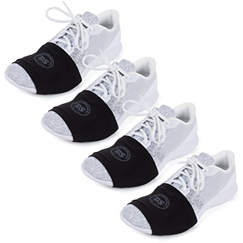 THE DANCESOCKS - Over Sneaker Socks for Dancing on Smooth Floors (4 Pairs - Black/Black/Black/Black) (Best Dance Shoes For Carpet)