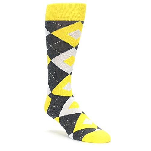 Statement Sockwear Men's Argyle Groomsmen Wedding Socks (Daisy Gray) ()