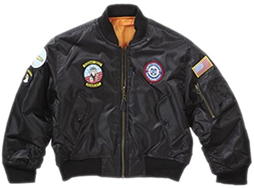 Top Gun Boy's Ma-1 Flight Jacket Army Clothing Us Airforce Bomber Pilot Medium Black ()