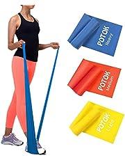 Potok Träningsband set om 3 120 x 15 cm för fitness, rådjur, gymnastik och sjukgymnastik | lätt | medium | starkt – träningsband, träningsband, gymnastikband, för män och kvinnor