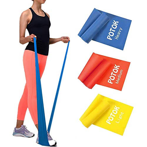 Potok Resistance Bands Set, 3 Pack Latex Exercise Bands with Different Strengths,Elastic Bands for Upper & Lower Body & Core Exercise, Physical Therapy, Pilates, Rehab