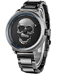 Unique 3D Skull Dial Mens Quartz Wrist Watch Punk Style Fashion Hollow Pointer Stainless Steel Strap PAGANI DESIGN