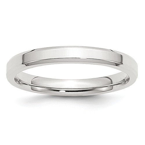 925 Sterling Silver 3mm Bevel Edge Wedding Band Ring Size 5.5