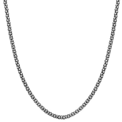 - Kooljewelry Oxidized Sterling Silver 2 mm Coreana Chain Necklace (24 inch)