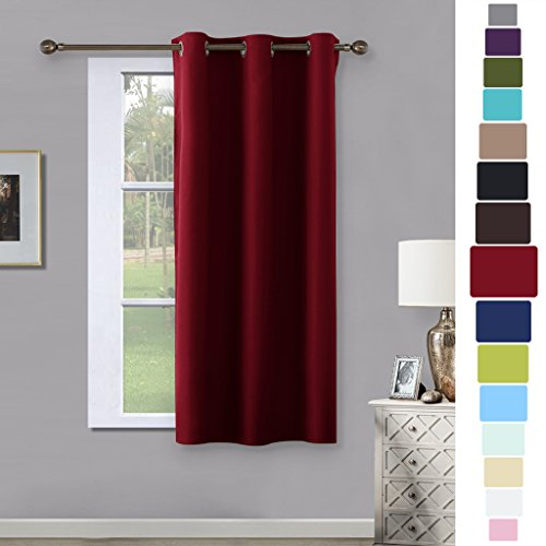 Window Treatments Ideas (Burgundy Blackout Window Curtain for Kitchen - NICETOWN Noise Reducing Solid Grommet Window Treatment Drapery / Drape (One Pack, 42 by 63-Inch, Burgundy Red))